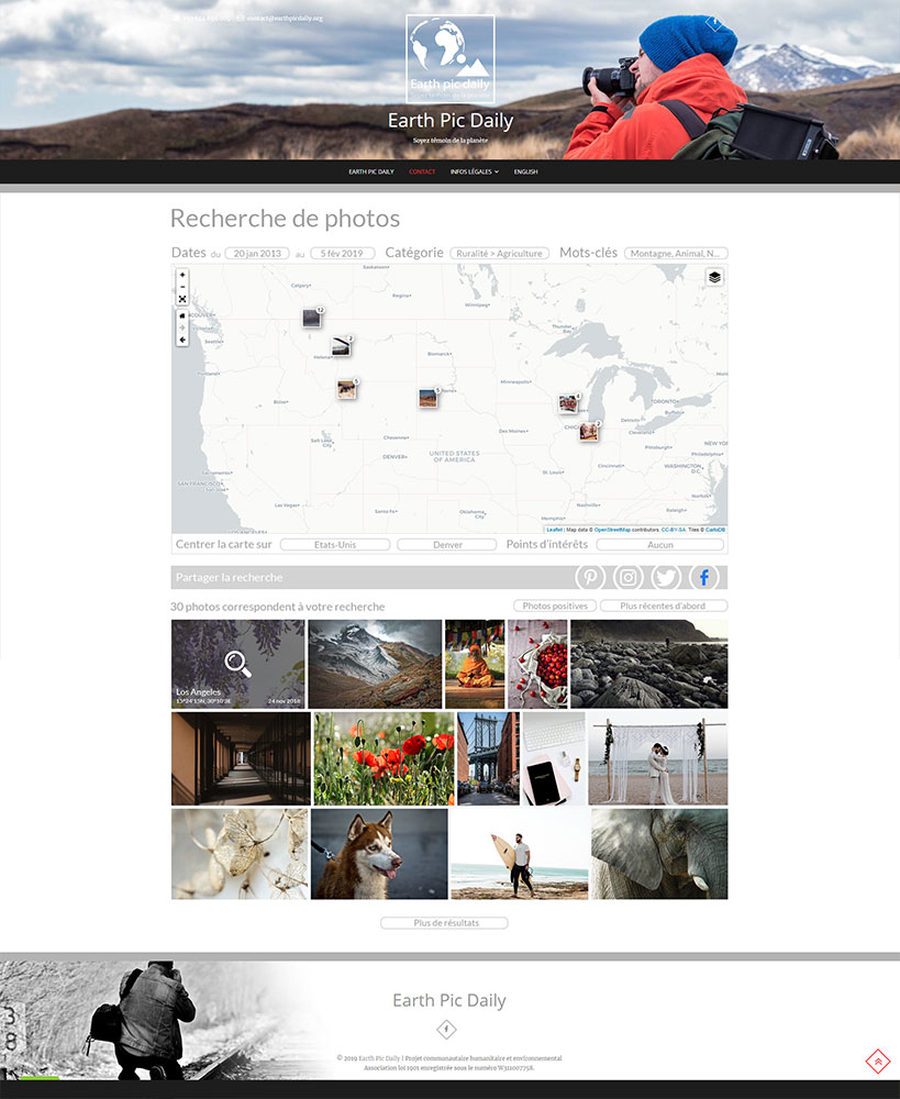 Earth Pic Daily - Exemple page Recherche